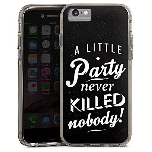 Apple iPhone 7 Plus Bumper Hülle Bumper Case Glitzer Hülle Party Phrases Sayings Bumper Case transparent grau