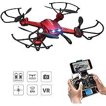 Hover Drone con Camara, Potensic F181WH AMPLIADO Wifi FPV Exploradores 2.4GHz 4CH 6-Axis Gyro RC Quadcopter Drone Sin Cabeza con Cámara HD 2 Megapíxeles Teléfono Drone Helicóptero, Función 3D Flips (Incluido las Hélices) - Rojo