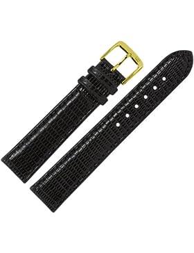 Uhrenarmband 19mm Leder schwarz Prägung, Teju (echte Eidechse) mit IRV Artenschutzfahne, mit Naht - MADE IN GER...