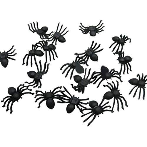 Junjie-Halloween Mini Kunststoff Schwarz Leuchtenden Spinne Streich Scherz Geburtstag Spielzeug DIY Dekorative Spinnen 2 cm Spinne Party Requisiten 20 stücke / 50 stücke / 100 stücke / 200 stücke