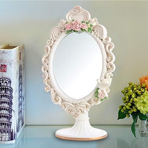 GWFVA Spiegel Gesundheit UK Desktop Eitelkeit tragbare HD Kosmetik einseitig Harz Make-up Schönheit einstellbar 18 cm * 27 cm oval weiß Badezimmer süß zu Fuß Stehen Willkommen (4-fuß-badezimmer-eitelkeit)