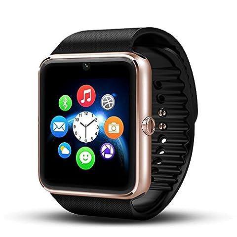Smartwatch Android Wear, DeYoun® Handy-Uhr Bluetooth Smartwatch Uhr Fitness Armband mit Kamera SIM Karte Slot für Samsung Galaxy S7 Edge S6 / S5 HTC LG Sony Huawei Android Telefon IPhone IOS [ Tlweise Fnktionen ]
