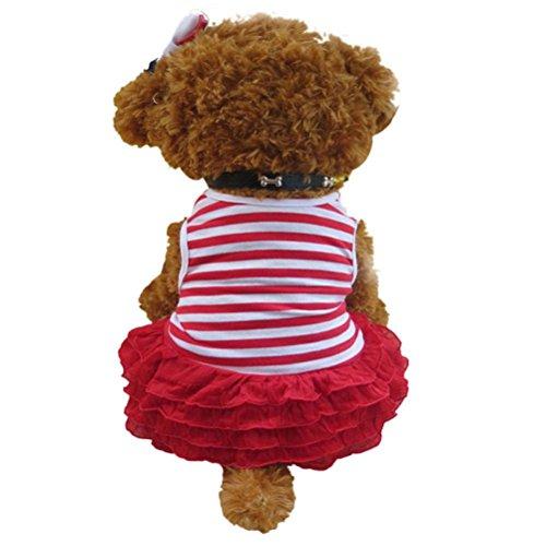 ssin Kleid, Hmeng Mode Hund Streifen T-Shirt Rock Bekleidung Puppy Kostüm (XL, Rot) (Pudel-rock-kostüm Mädchen)