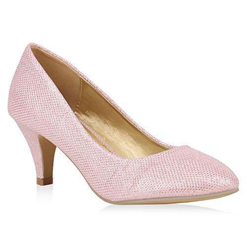 Klassische Damen Pumps Stiletto Mid Heels Hochzeit Party Schuhe Elegante Glitzer Abendschuhe 153497 Rosa Glitzer 41 Flandell