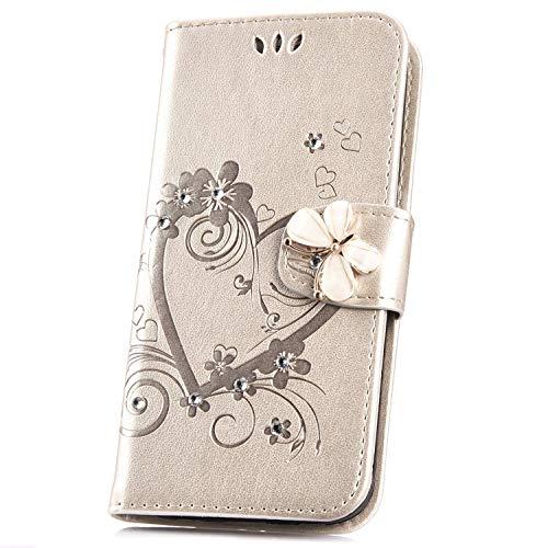 Surakey Cover Compatibile con Samsung Galaxy A5 2016 Flip Libro Portafoglio Pelle Case Glitter Diamante con Funzione Supporto e Porte Carte Chiusura Magnetica Pieghevole Anti-Scratch Custodia,Oro