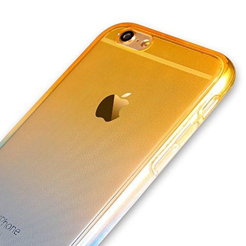 iPhone 5S Hülle,iPhone SE Hülle,Silikon Hülle für iPhone 5S,JAWSEU iPhone SE/5/5S 360 Grad Hülle Ultra dünn TPU Silikon Hülle Tasche Case Handy Cover Rundum Schutzhülle,2 in 1 Double Sides Full Body T Gelb+Blau