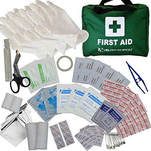 110-teiliges hochwertiges Erste-Hilfe-Set - beinhaltet Augenwasser, Verbandszeug, 2 Kühlpacks und eine Rettungsdecke für Reisen, zu Hause, im Büro, Auto, Wohnmobil, Camping, Arbeit (grün)