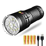 10000 Lumen Flashlight, Tactical Torch Light 12x XML T6 LED Rechargeable Batteries Included USB Charging for Camping, Hiking, Power Outage