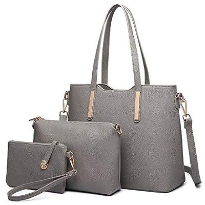 Miss Lulu Women Fashion Handbag Shoulder Bag Purse Faux Leather Tote 3 Pieces