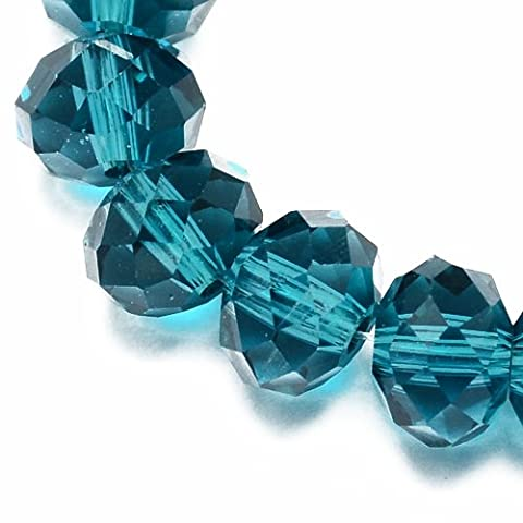 Strand of 70+ Teal Czech Crystal Glass 8 x 10mm Faceted Rondelle Beads - (HA21045) - Charming Beads