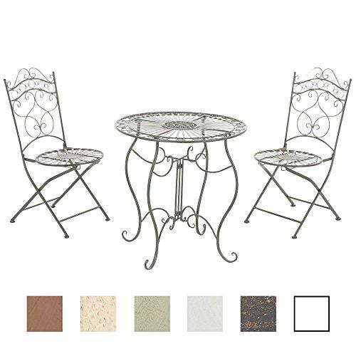 CLP Garten-Sitzgruppe INDRA aus Eisen | 2x Klappstuhl und 1x Tisch aus Eisen | Pflegeleichte Gartenmöbel im Jugendstil | In verschiedenen Farben erhältlich Antik Grün