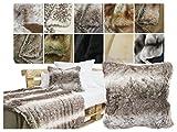 Luxuriöse Kissenhüllen in Felloptik - ca. 50 x 50 cm in 11 verschiedenen Dessins - außergewöhnlich edel & stilvoll in extra geschmeidiger Qualität, Kodiakbär