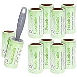 Wellgro® 10er Set Fusselrollen - 10 Rollen mit je 90 Blatt + Abroller, 900 diagonal perforierte Blätter für leichtes Abziehen