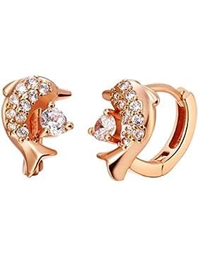 Damen Ohrhänger Rose Gold Vergoldet Titan Delfine Weiß Zirkonia Breite 9mm Ohrringe für Frauen, AnaZoz Schmuck