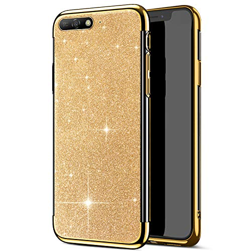 kompatibel mit Huawei Y6 2018 Hülle,Huawei Y6 2018 Handyhülle,JAWSEU Glänzend Glitzer Strass Silikon Schutzhülle Case,Crystal Clear TPU Silikon Handytasche Schutzhülle für Huawei Y6 2018,Gold