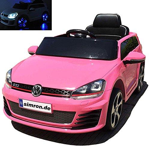 simron Golf 7 VW Golf GTI Cabriolet Elektro Kinderauto Kinderfahrzeug Ride-On 12V Kinder Elektroauto (Rosa)
