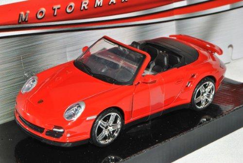 Motormax Porsche 911 997 Turbo Cabrio Rot 2004-2011 1/24 Modell Auto