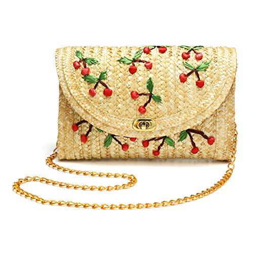 JOSEKO Damen Stroh Crossbody Tasche, Sommer Strand Meer Umhängetasche Geldbörse Mode Clutch Cherry