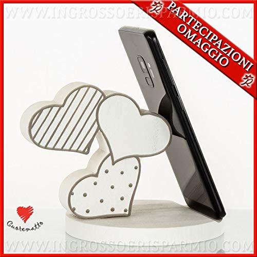 Ingrosso e risparmio cuorematto - supporto portacellulare con 3 cuori in legno bianchi e decori tortora, bomboniere matrimonio originali, utili, con scatola regalo inclusa (con confezione panna)