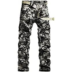 Baiter Hombres Pantalones de algodón pantalones de utility de camuflaje trabajo o Casual pantalones Camouflage grey Cintura: 96 cm