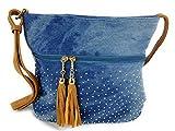 Süße Jeans Style Umhängetasche mit 2 Troddeln und kleinen Steinchen/Nieten - Glitzereffekt - Maße ohne Henkel 29x25x12 cm - Damen Mädchen Teenager Tasche - Used Look Style (blau/braun)
