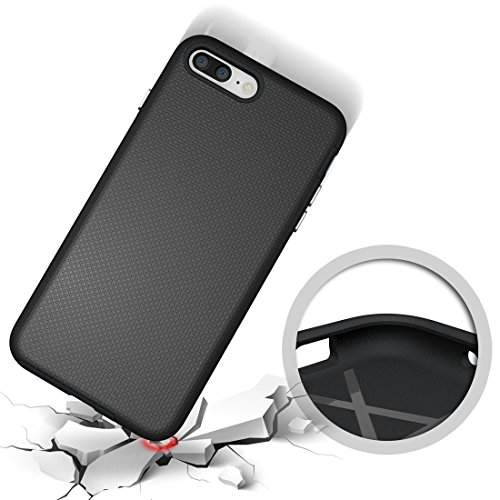 Hülle für iPhone 7 plus , Schutzhülle Für IPhone 7 Plus Ball Texture Anti-Rutsch PC + TPU Schutzmaßnahmen Rückseiten Fall Fall ,hülle für iPhone 7 plus , case for iphone 7 plus ( Color : Black ) Black