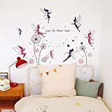 Walplus COM Wandsticker für das Wohnzimmer, Design: Feen und Pusteblume, Pink/Rosa