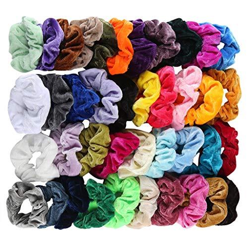 Oksea 40 Pack Haar Scrunchies elastische Samt Bunte Haargummi Haarbänder scrunchies samt Elastisches Haarband Pferdeschwanz Gummibänder Stirnbänder Seile für Damen Mädche (mehrfarbig)