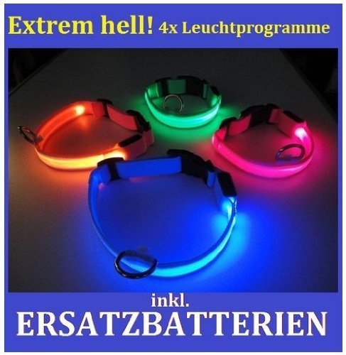 hundeinfo24.de FARBIG LED Halsband / Hundehalsband / Leuchthalsband – Farben: ** GRÜN ** BLAU ** PINK ** ROT ** ORANGE ** — ALLE GRÖSSEN – XS , S , M , L —