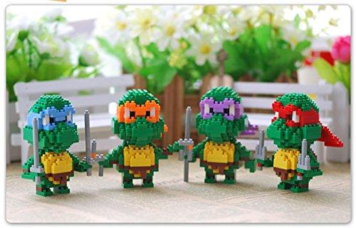 4 stuck mini figuren TMNT - Teenage Mutant Ninja Turtles - Leonardo Michelangelo Raphaelo Donatelo - Maß 7.8cm - Ursprungsschachtel und Montagevermerk - ABS - mini figur Schildkröten ninja di channeltoys (Mini-ninja Turtles)