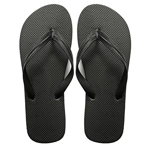 SUGAR ISLAND® UNISEX LADIES GIRLS MENS SUMMER BEACH FLIP FLOP POOL SHOES-BLK-11/12-MENS