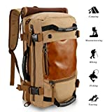 ibagbar 35L Leinwand Große Reise Wandern Camping Rucksack Multifunktions Outdoor Klettern luaggage Tasche (khaki, L)