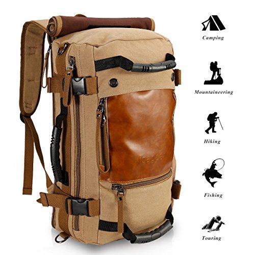 Borsa da viaggio dello zaino della tela di canapa di ibagbar 35L Bag di escursione Sacchetto di zaino da campeggio (cachi, L)
