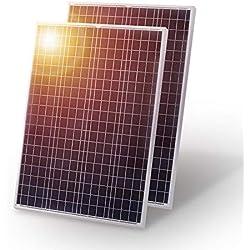 DOKIO Panneau solaire 2*100W (200w)-12V Poly Idéal pour toutes applications camping -car, marine - bateau, chalet - cabane, maison