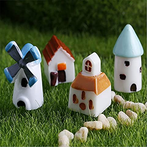 Junsi KJ 10xFairy Garden fata garden Miniature Stone House casa di pietra Figurine Craft Micro Landscape Decor