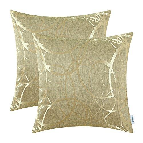 CaliTime Kissenbezüge Kissenhülle Packung mit 2 Wurfkissenbezüge Schalen für Couch Sofa Home Decor Modern Shining & Dull Contrast Circles Ringe Geometric 50cm x 50cm Gold -