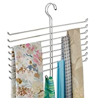 InterDesign Classico Wrinkle Free Scarf Closet Organizer Hanger, No Snag Storage for Scarves, Ties, Belts, Pashminas, Accessories - 8 Rods, Chrome