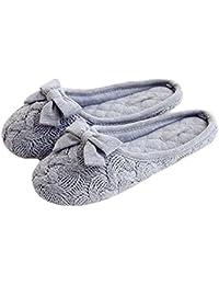 Tininna - zapatillas de estar por casa, con lazo, para otoño e invierno, calentitas, monas, de lana, antideslizantes, para…