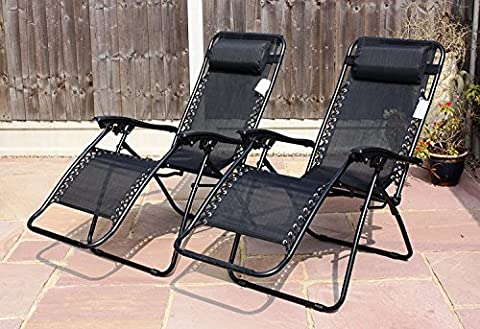 LIVIVO ® Zero Gravity Reclining Garden Sun Loungers with Adjustable Padded Headrests and FREE Clip On Side Table – Relax in Comfort and Style with Cool Black Weather Resistant Textoline Fabric - Folding Lightweight Frame is Great for Travel – Perfect for Home, Garden, Patio, Decking, Holiday, Beach, and More. (Single)