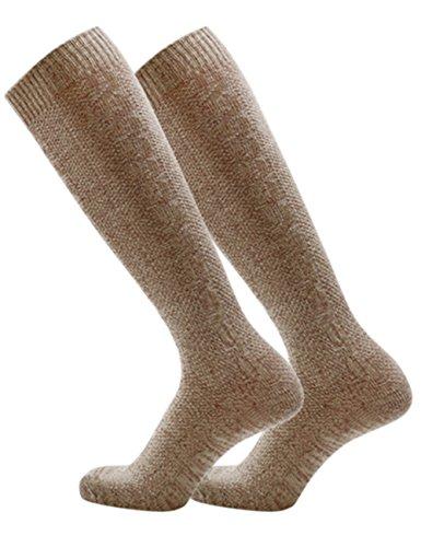 KOJOOIN Trachten Herren Lederhose Trachtenlederhose Kniebundhose mit Trägern(Verpackung - Herren Paar Kostüm