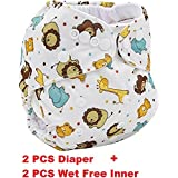 LUKZER Reusable New Adjustable All Sizes Baby Washable Cloth Diaper Nappies for Babies,0 to 2 Years (Random Colour) - Pack of 2 with 2 Diaper-Liners