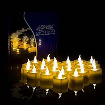 24pcs Candele a LED, AGPtek Sacco giallo ambrato LED batteria Light Candle con Timer (Yellow Flickering with Timer)