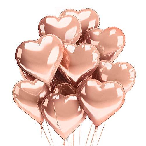 deloono Herzluftballons Herzballons Folienluftballons 10 STK. Rose - Ideal als Hochzeitsdeko, Geburtstagsdeko oder Partydekoration