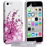 Yousave Accessories Floral Bee Silicone Gel Cover Case for iPhone 5C