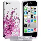 iPhone 5C Tasche Rosa / Weiß Silikon Gel Blumen Biene Hülle