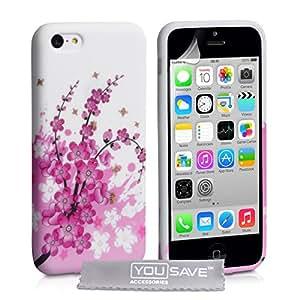 Coque iPhone 5C Etui Rose / Blanc Silicone Gel Floraux Abeille Housse