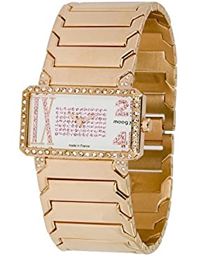 Moog Paris In Between Damen Uhr mit Weißem Zifferblatt, Swarovski Elements & Rosegoldenem Armband aus Edelstahl...