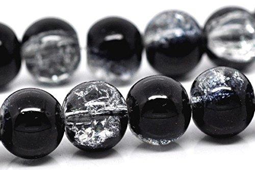 SiAura Material 1 Strang Glasperlen Schwarz Klar Crackle, D. 10mm, Ca. 85 Stück