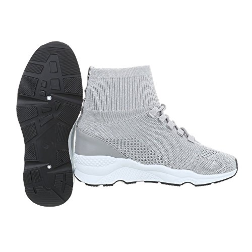 clair gris Sneaker Ital Design donna high Scarpe 10 G piatto Sneakers da RzcKqHE