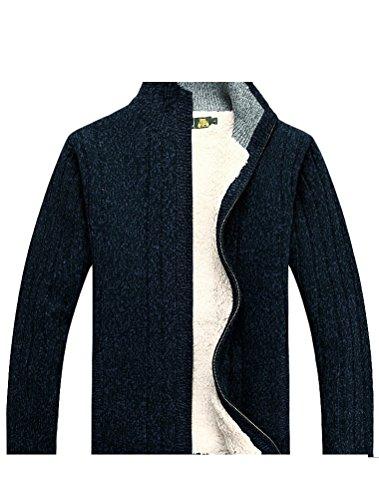 MatchLife Homme Nouveau Col Montant Toison Manteau Pull Cardigans Style1-Bleu